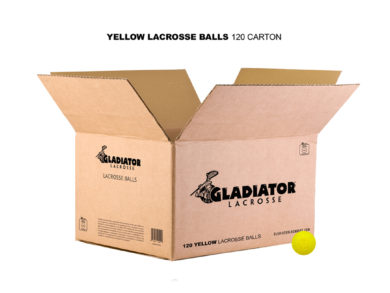 Gladiator Lacrosse® Case of 120 Official Lacrosse Game Balls – Yellow – Meets NOCSAE Standards, SEI Certified